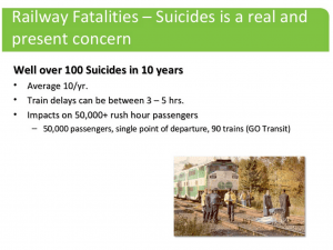 Over 100 suicides in 10 years hasled Go Transit Safety Officers to look to any and all ways to reduce the numbers. On May 14, 2014 Go Transit Safety Officer Steve Weir teamed up with Nurse Anne Marie Batten of Real Time Crisis Prevention and Toronto Police Officer Constable Scott Mills to deliver a presentation on how effective social media use can help stop suicides on railways. For more information on a regular basis on the Real Time Crisis Intervention initiative follow the posts on RealTimeCrisis.org and hash tag #RealTimeCrisis is social media